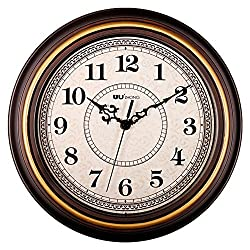Kinger_Home 12-inch Silent Non-ticking Round wall clocks, Imitate Wooden Wall Clocks Decorative Vintage Style,,Home Kitchen/Living Room/ Bedroom(Golden Circle)