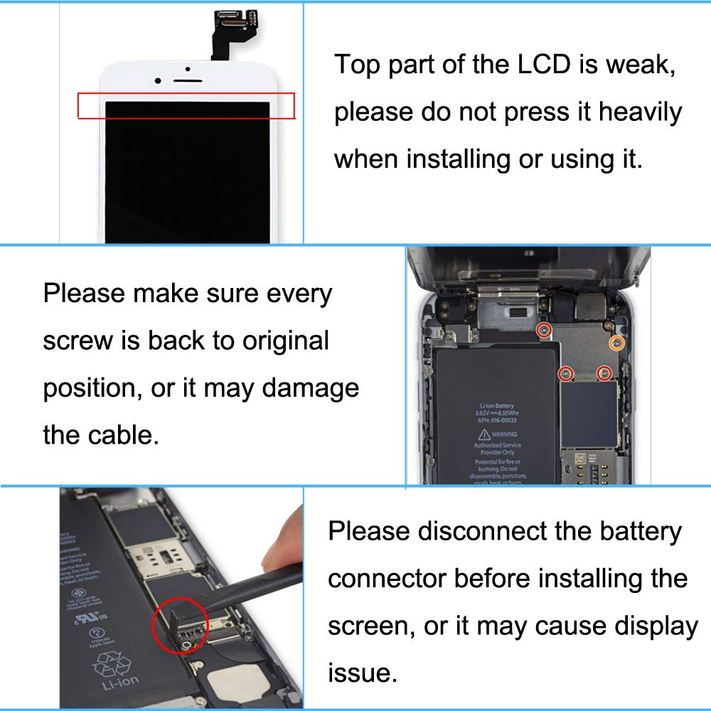 For iPhone 6s Digitizer Screen Replacement White - Ayake 4.7'' Full LCD Display Assembly with Home Button, Front Facing Camera, Earpiece Speaker Pre Assembled and Repair Tool Kits by Ayake (Image #9)