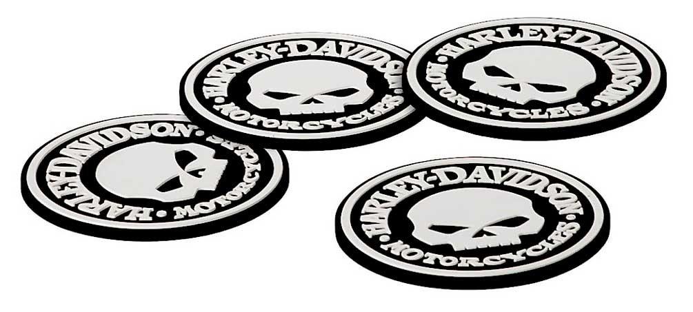 Harley-Davidson Skull Coasters Set - 4 Rubber Coasters HDL-18522
