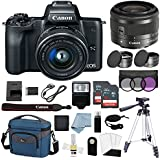 Canon EOS M50 Mirrorless Digital Camera (Black) With 15–45mm f/3.5–6.3 IS STM Lens + Deluxe Accessory Bundle - M50 Camera Includes EVERYTHING You Need To Get Started