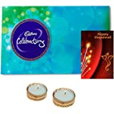 Maalpani Diwali Chocolate Pack - Cadbury Celebration & Diya Candle With Shubh Deepavali Greetings / Card