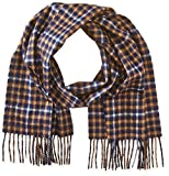 Phenix Cashmere Men's Gingham Window Pane Scarf, Navy/Camel, One Size