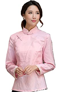 ee02d41b1 AvaCostume Women's Linen Chinese Style 3/4 Sleeve Blouse Qipao Top ...