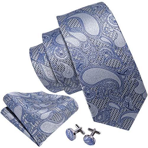 (Grey Ties for Men Woven Paisley Pocket Square Cufflinks Dress)