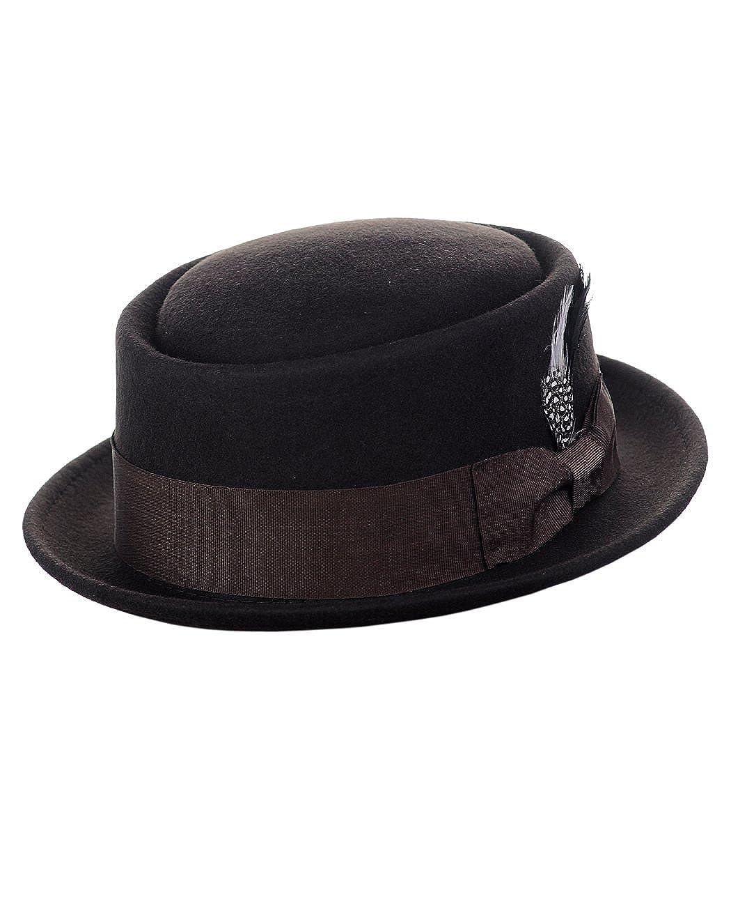 NYFASHION101 Mens Crushable Wool Felt Porkpie Hat w//Feather