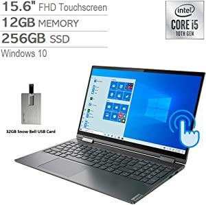 "2020 Lenovo Yoga C740 2-in-1 15.6"" FHD Touchscreen Laptop Computer, Intel Core i5-10210U, 12GB RAM, 256GB SSD, Backlit Keyboard, Intel UHD Graphics, HD Webcam, USB-C, Win 10, Gray, 32GB USB Card"