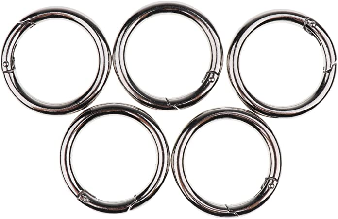 5pcs Runde Karabiner Snap Ring Schlüsselanhänger Karabinerhaken Schwarz 16mm