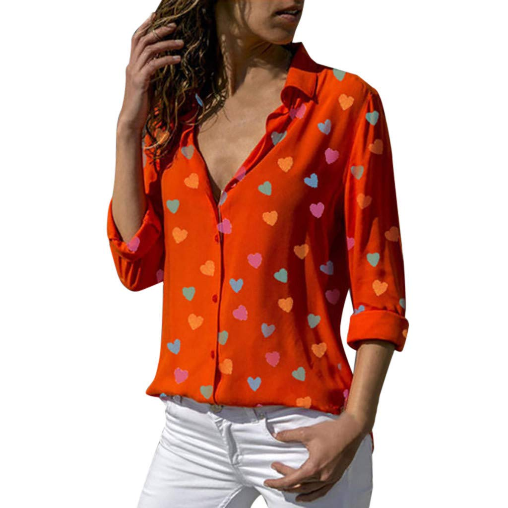 Women Casual Buttons V-Neck Loose Love Printing Long Sleeve Shirt Tops Blouse