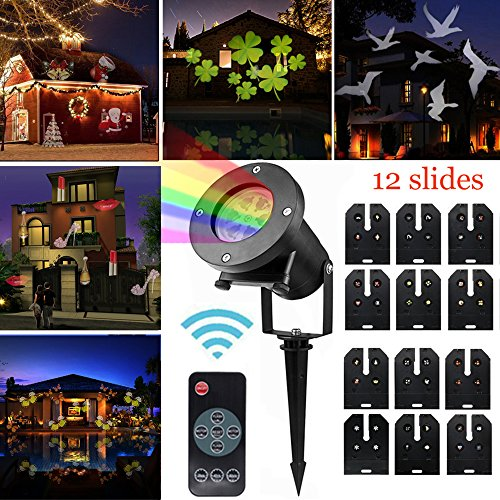 Taohua Projector Light Remote Control,12 Exclusive Design Slides IP65 Waterproof Landscape Motion Projector Lights,for Christmas Thanksgiving Birthday Wedding Party Outdoor&Indoor