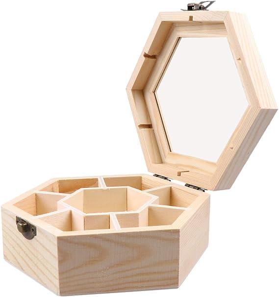 Unpainted Wooden Box Hexagon Honeycomb Shape Box Keepsake Trinket Box Decor Lin