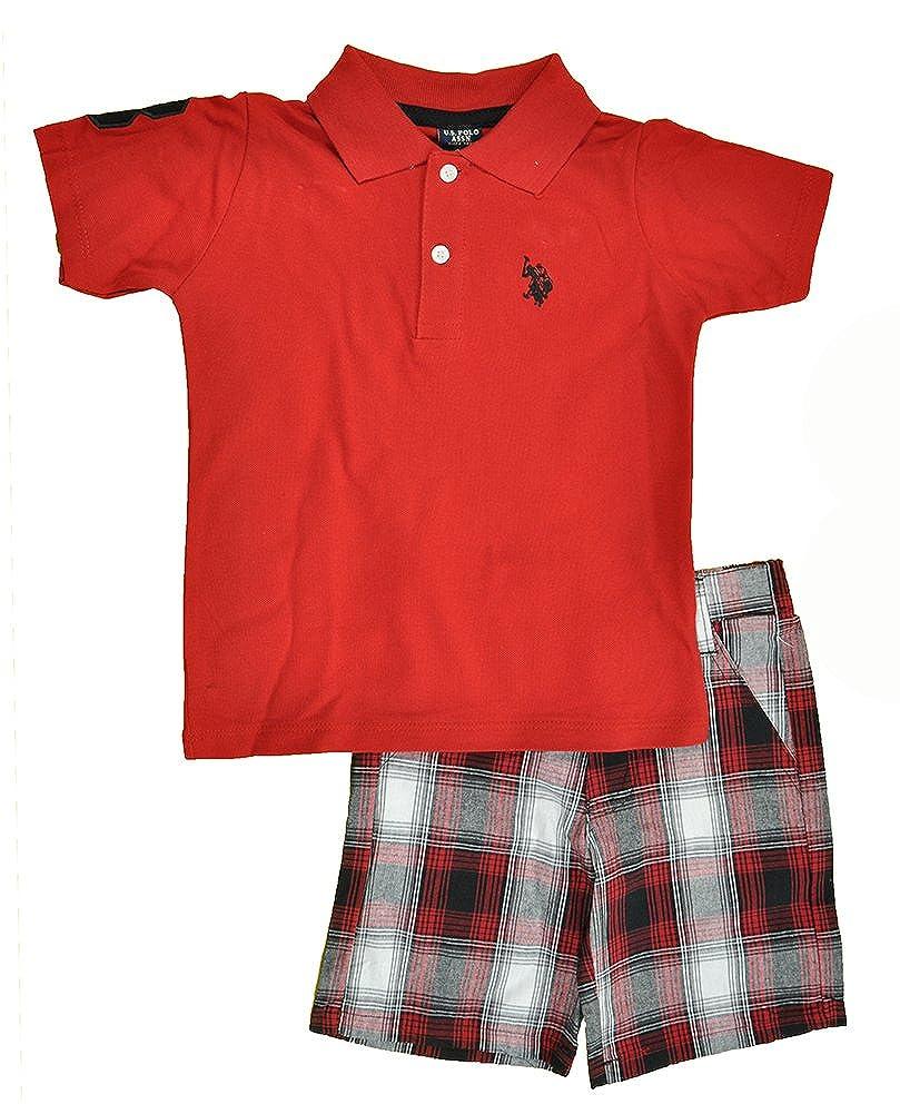 Boys 4-7 HO43 Little Boys Pique Polo Shirt and Plaid Short Set US Polo Assn