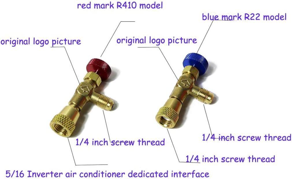 YUYUE21 Rojo R410 + Azul R22 2 Modelos//Juego v/álvula de Seguridad de Cobre y fl/úor
