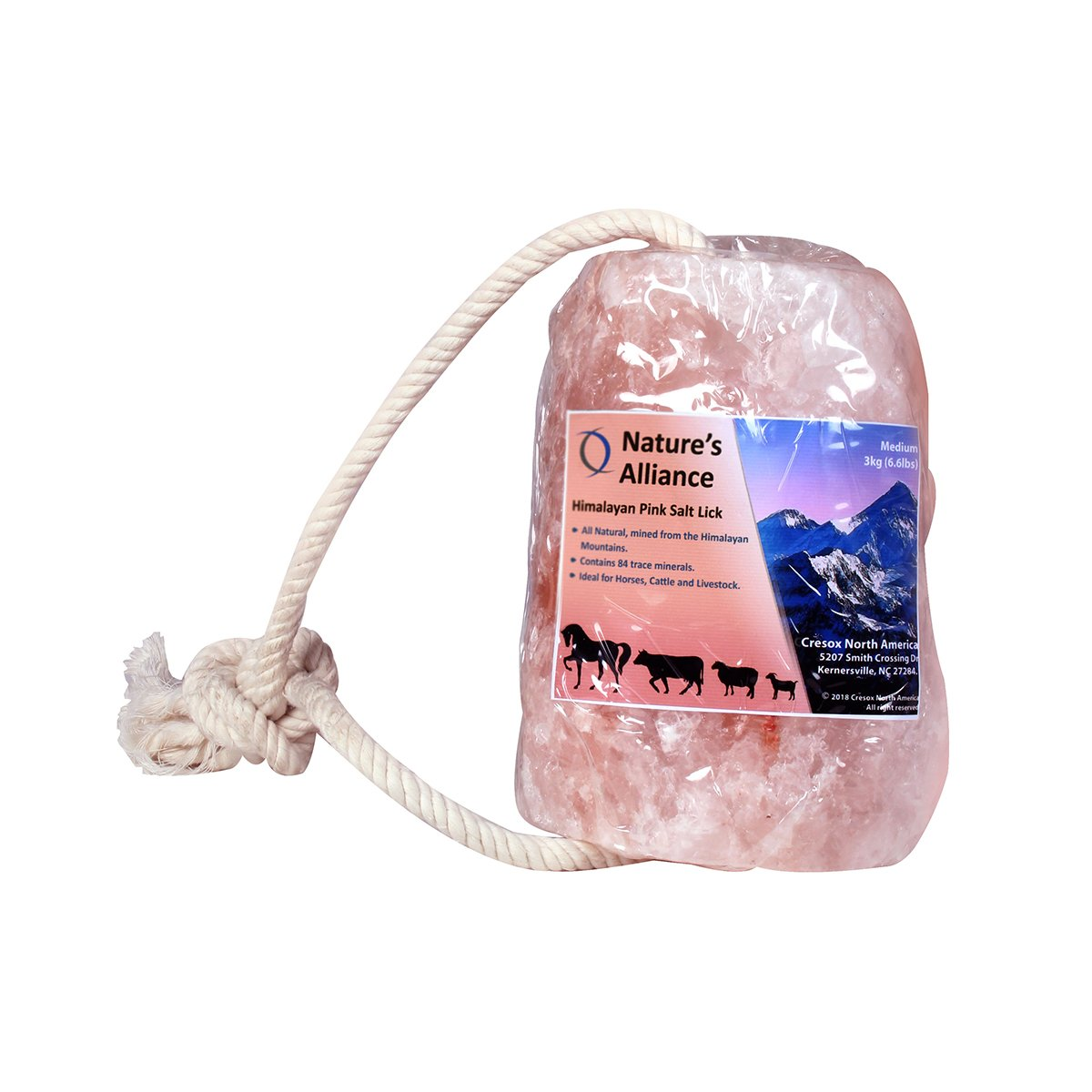 Alliance Himalayan Salt Lick for All Animals – 100% Natural Pure Salt Block on Rope for Horses, Deer, Goats, Rabbits, Cattle and Livestock – Long Lasting – 6.6 Lbs / Pink Salt Lick