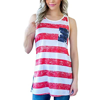 ????Vovotrade???? Womens Summer Tops Sleeveless O-Neck American Flag Vest Blouse Tank Tops T Shirt Pullover