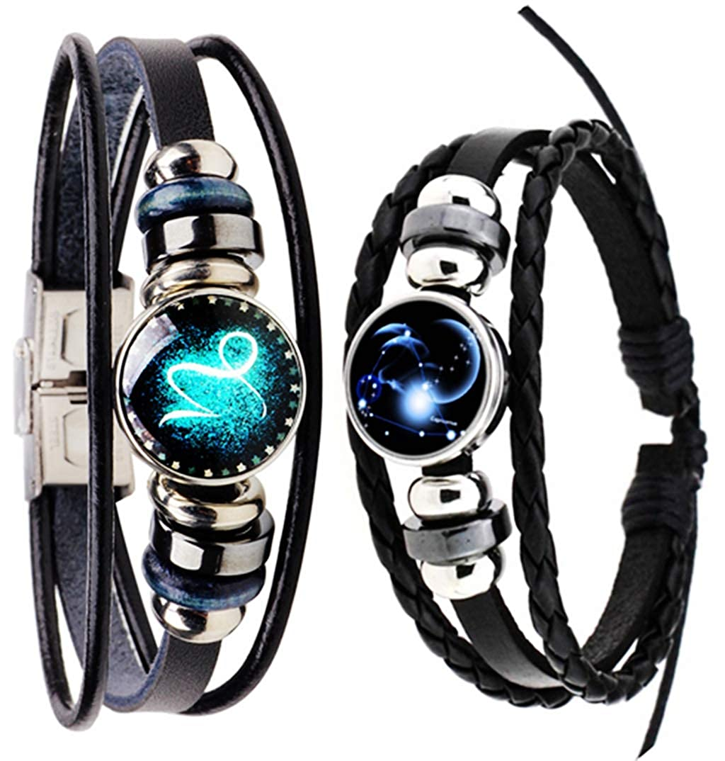 Newless 2 Pcs Retro 12 Zodiac Constellation Beaded Hand Woven Leather Bracelet