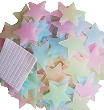 Amaonm® 100 Pcs Colorful Glow In The Dark Luminous Stars Fluorescent  Noctilucent Plastic Wall Stickers