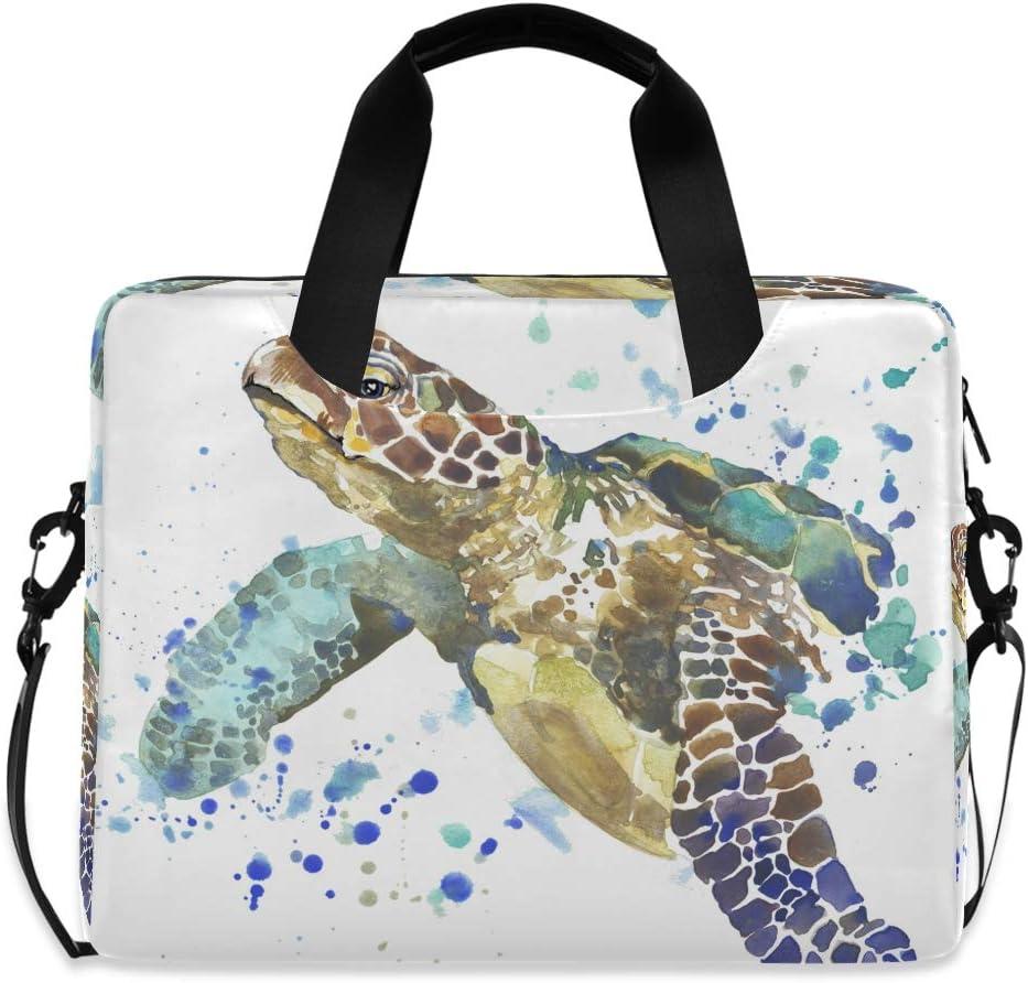 MAHU Laptop Case Bag Watercolor Ocean Animal Turtle Laptop Sleeves Briefcase 13 14 15.6 inch Computer Messenger Bag with Handle Strap for Women Men Boys Girls
