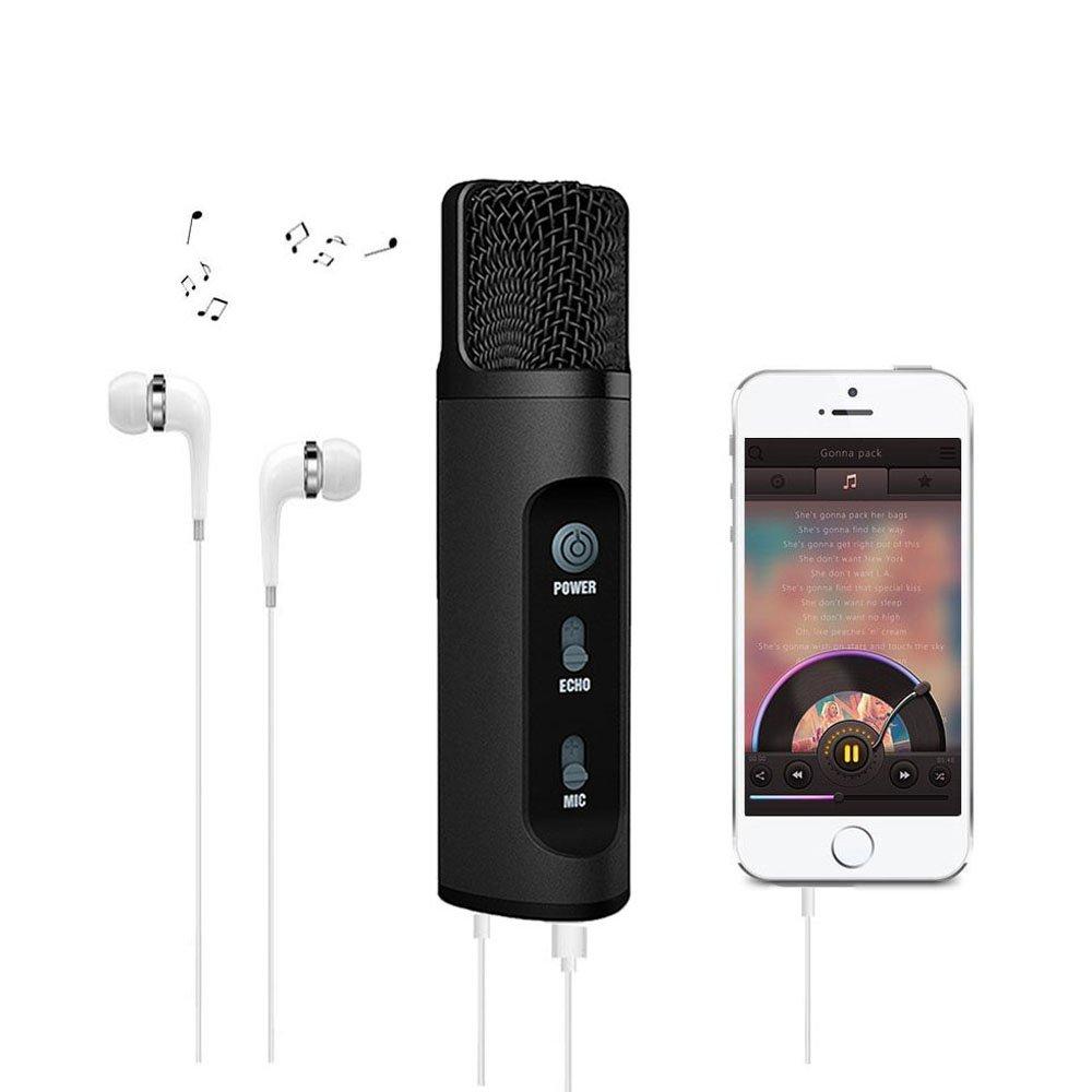 Karaoke-Mikrofon fü r Handy, ROOP, Stimmen-Wechsler-Funktion, Kondensator, Mikrofon fü r Gesang und Aufnahme, kompatibel mit Android, iOS, Tablet, PC Schwarz k-198