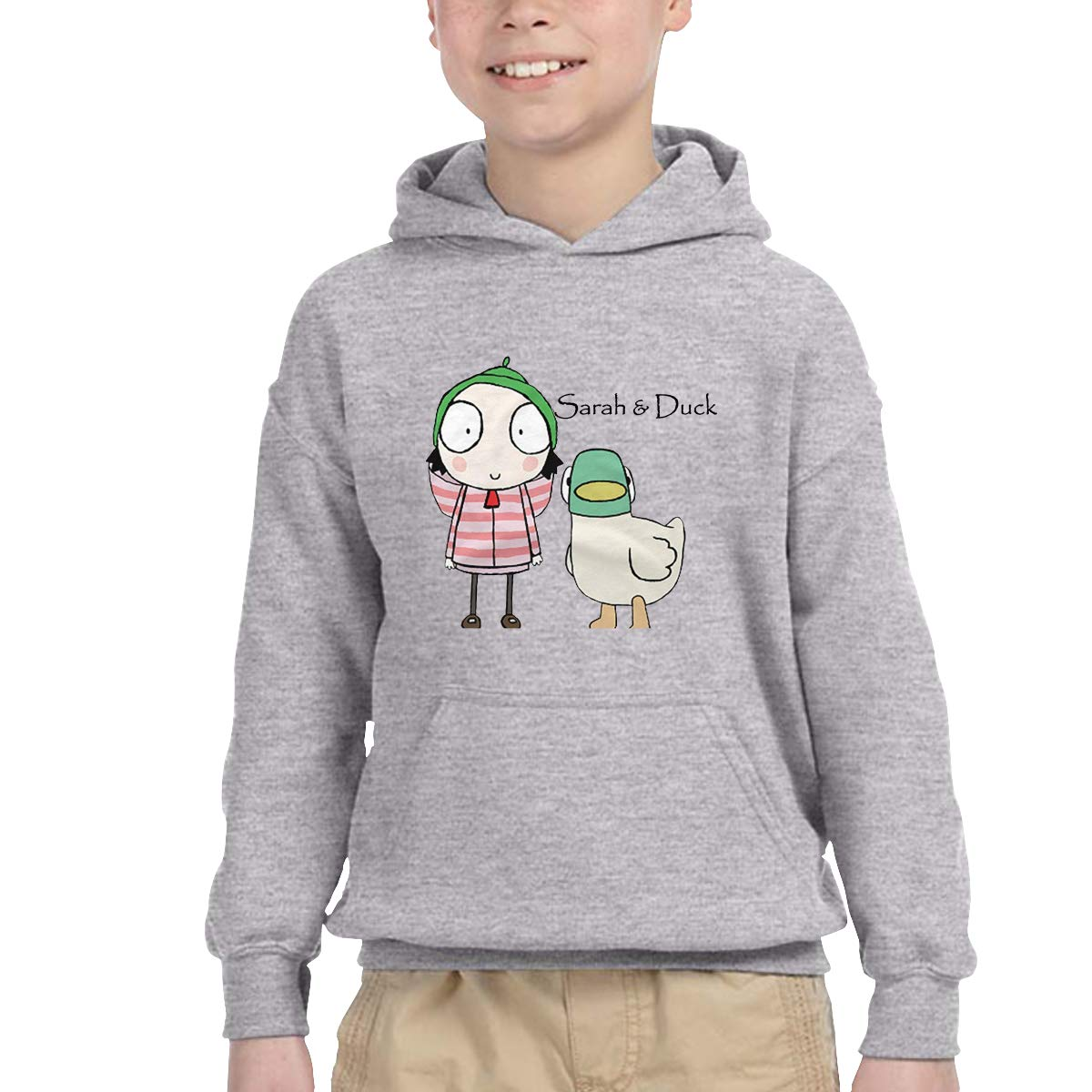 2-6 Year Old Childrens Hooded Pocket Sweater Original Retro Literary Design Sarah /& Duck Logo Gray