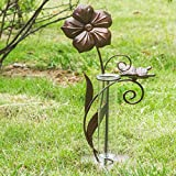 A Ting Garden Decorative 7'' Metal and Glass Rain Gauge,Butterfly,Flower