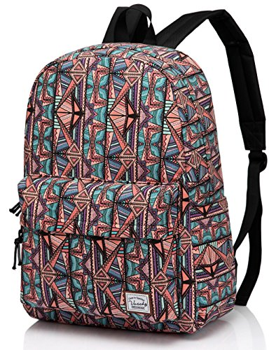 School Backpack for Teen Girls,Fashion Canvas Rucksack BookBag with Padded Sleeve