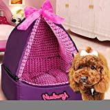 Cheap Romantic Tent Style Pet Dog House with Bowknot Ger Dog Kennel Washable, Puppy Cat Warm House/ Bed/ Mat Soft (Small)