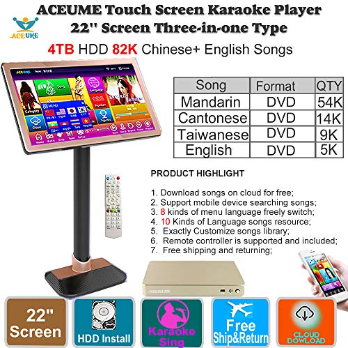 (4TB HDD 87K Chinese songs,English Songs,22'' Touch Screen Karaoke Player, Cloud Download, Remote controller Included 觸摸屏卡拉OK 播放器,云下載)