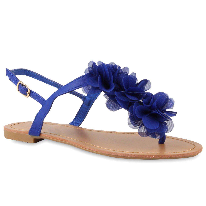Stiefelparadies Damen Sandalen Zehntrenner Uuml;bergrouml;szlig;en Flandell  39 EU|Blau