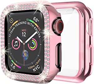 DSYTOM Case Compatible with Apple Watch 38mm, Bling PC Full Cover Bumper & TPU Soft Screen Protector Case 2 Pack for iWatch Series 3/2/1 Women Girl(38MM,Rose Pink+Rose Pink)