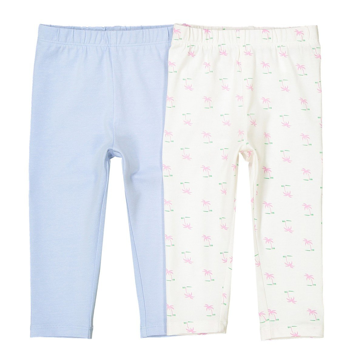 La Redoute Collections Big Girls Pack of 2 Stretch Cotton Leggings, 1 Month-3 Years White Size 3 Months - 23 in.