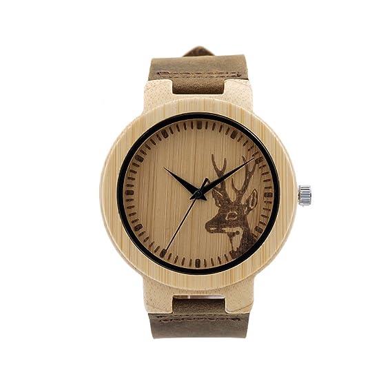 Moda Retro Relojes para Hombre Mujer - Correa de Cuero Cabeza de Ciervo Bambú Madera Relojes de Pulsera para Señores Señoras, Unisexo: Amazon.es: Relojes