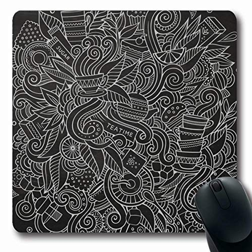 - Ahawoso Mousepads Detailed Green Bakery Cute Doodles Tea Food Drink Indian Abstract Nature Beverage Black Breakfast Oblong Shape 7.9 x 9.5 Inches Non-Slip Gaming Mouse Pad Rubber Oblong Mat