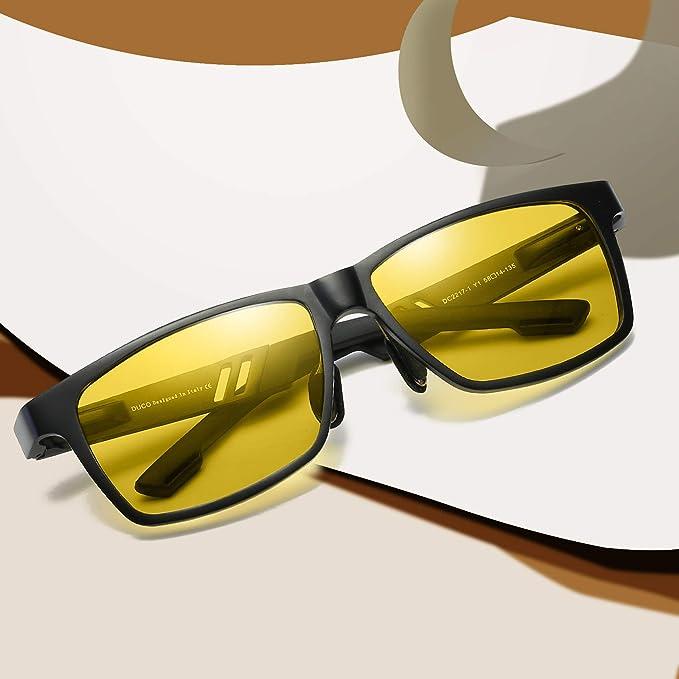 Duco Gafas antideslumbrantes de conducción nocturna antirreflejos para hombres y mujeres HD de visión nocturna Gafas de conducción amarillas 2217