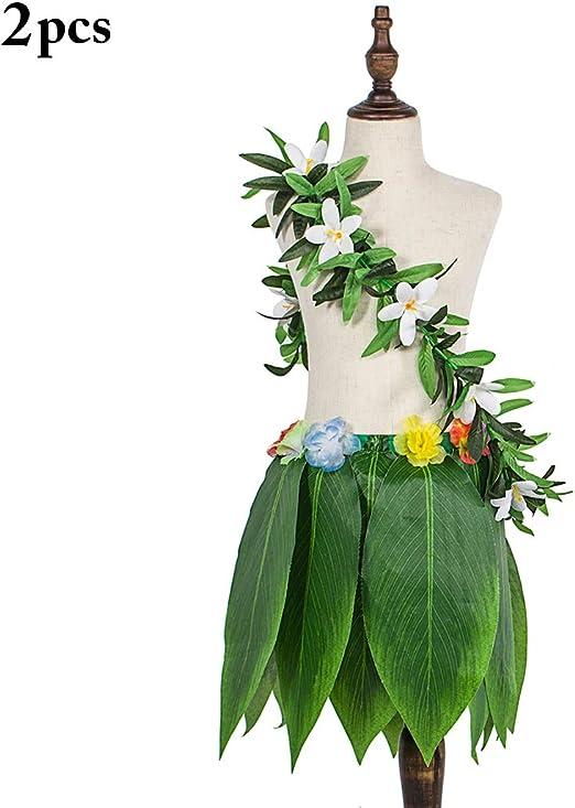 Zoylink Falda Hawaiana Falda de Hula de Flor de Hoja Artificial ...