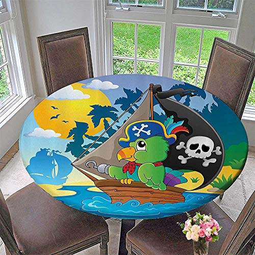 Mikihome Modern Table Cloth Pirate Parrot Themed Boat Danger Skull Crosss Hat Sun Comic Carto 47.5
