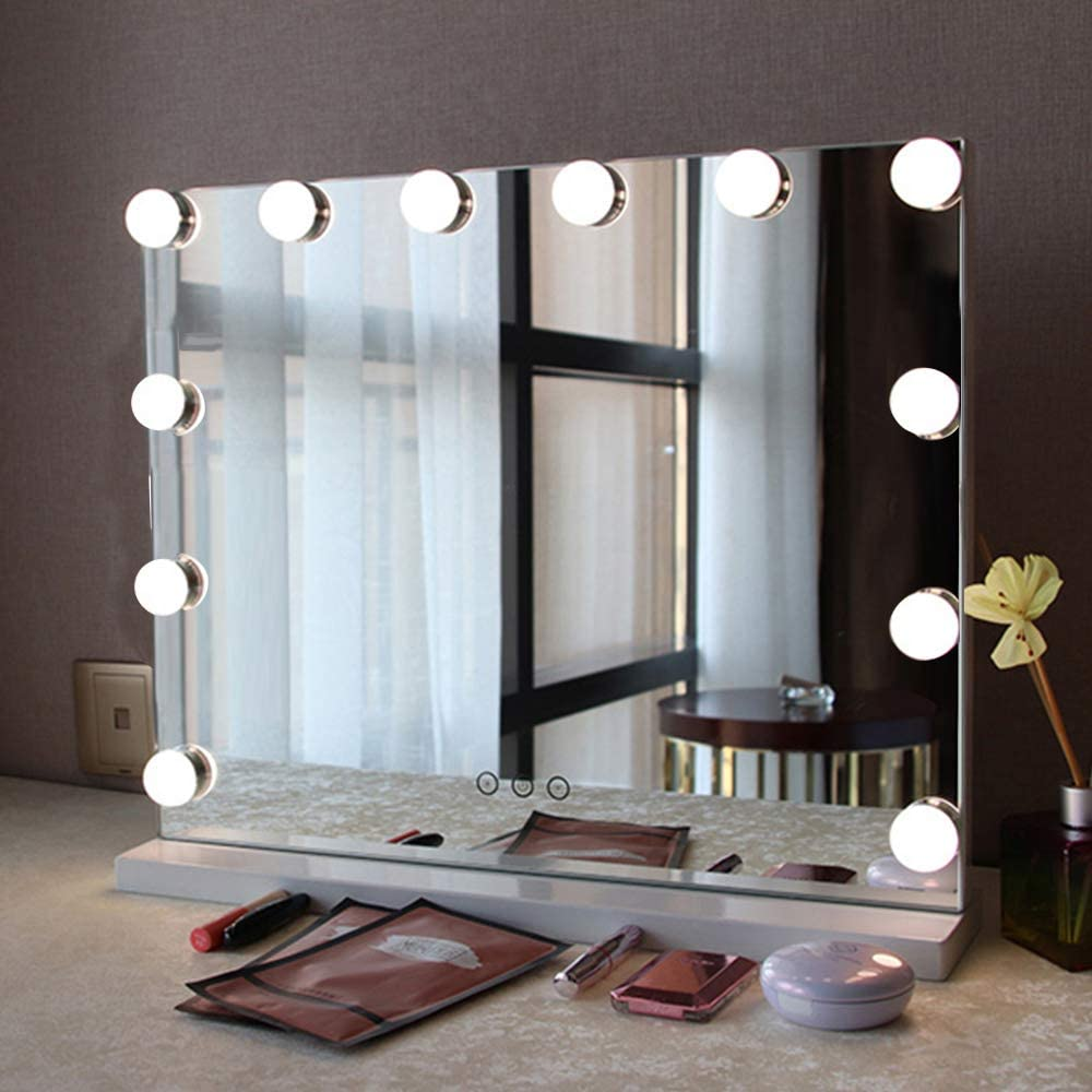 Fenair Makeup Vanity Mirror with Lights USB Outlet for Mobile Phone Hollywood Mirror, 3 Color Modes Cosmetic Mirror, Frameless Tabletop Mirror with Smart Touch Control, 12 Dimmable Bulbs (White)