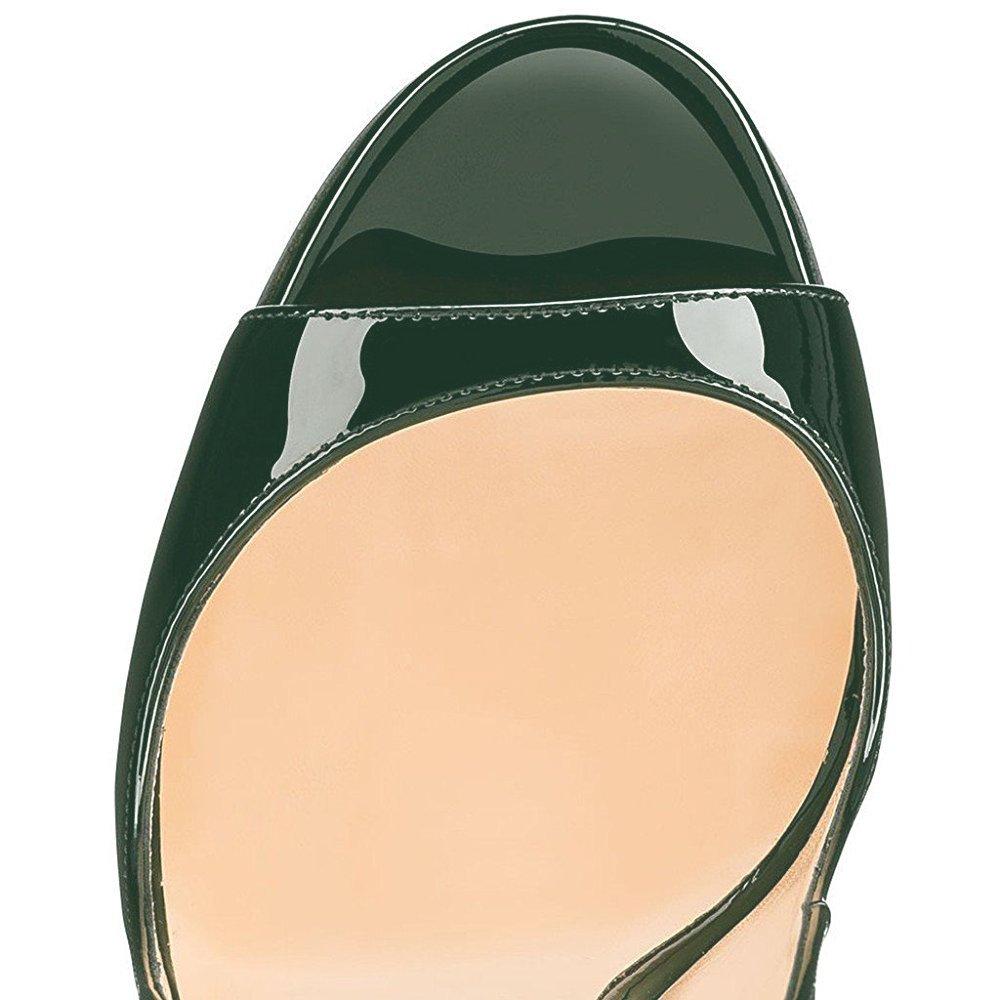 Modemoven Women's Patent Leather Pumps,Peep Toe B071962F98 Heels,Slingback Sandals,Evening Shoes,Cute Stilettos B071962F98 Toe 10 B(M) US Emerald 47e04f