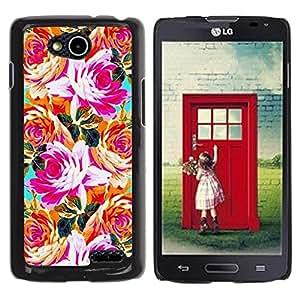 Be Good Phone Accessory // Dura Cáscara cubierta Protectora Caso Carcasa Funda de Protección para LG OPTIMUS L90 / D415 // Orange Pink Teal Flowers