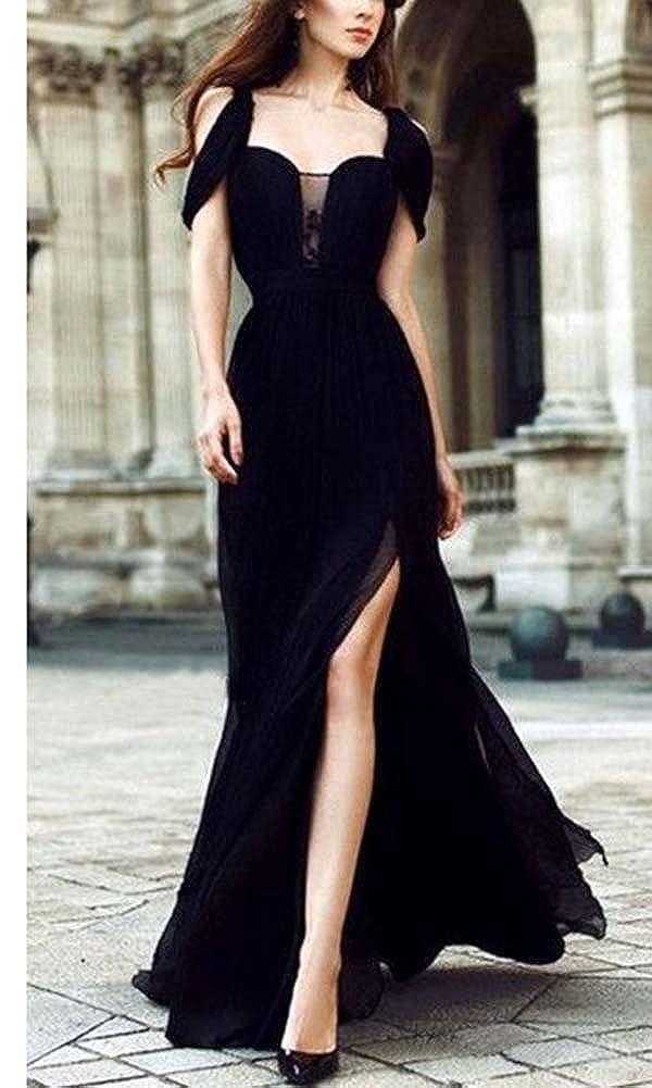 b9a1b783041c Donna Vestito in Chiffon Lungo Abito da Cerimonia Elegante Vestiti da  Matrimonio Lunghi Vestito Sera Nero XL: Amazon.it: Abbigliamento