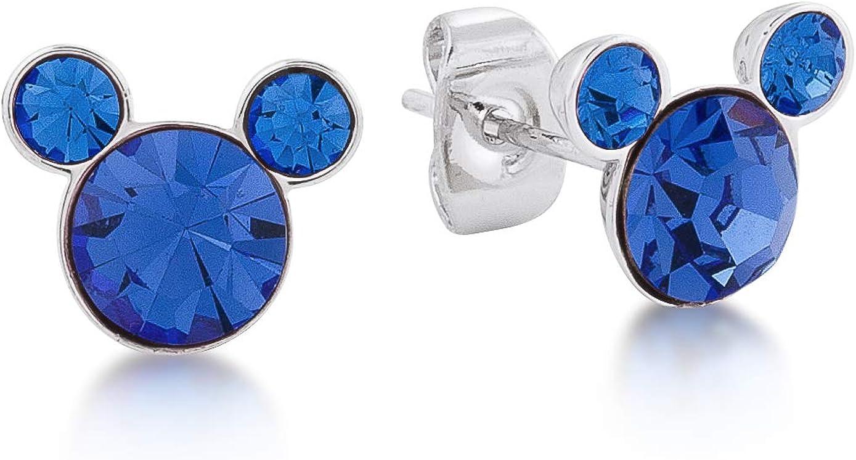 Boucles d'Oreille Puces Mickey Cristal Violet Argent Massif 925