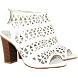 TRENDSup Collection Peep Toe Ankle Strap Sandal – Western Bootie Low Stacked Heel Open Toe Cutout Velcro Shoes