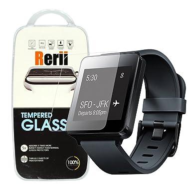 Rerii Protector de pantalla de cristal templado para LG G Watch W100 reloj inteligente, 9h