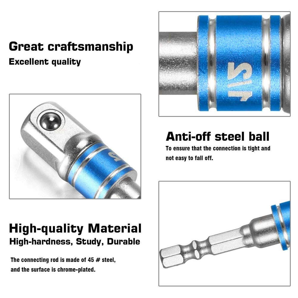 1//4-Zoll-Innensechskantschaft f/ür Adapter Verwendung mit Bohrfuttern Gr/ö/ßen 1//43//8 1//2 EisEyen Socket Adapter//Extension Set verwandelt Power Drill in Einen High Speed Nut Driver