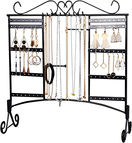 Amazon Com Jewelry Organizer Stand Wall Mounted Earring Holder Necklace Display Large Capacity With Removable Foot Bracelets Hanger Rack Black Home Improvement