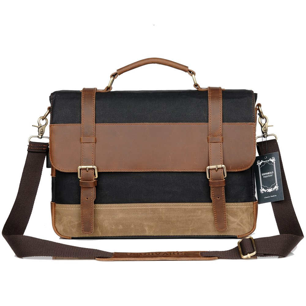 69f14622e4b Men Messenger Laptop Bag Large Capacity Genuine Leather Canvas Waterproof Vintage  Shoulder Bags Vintage Satchel and Business Briefcase Perfect for 14.9 inch  ...