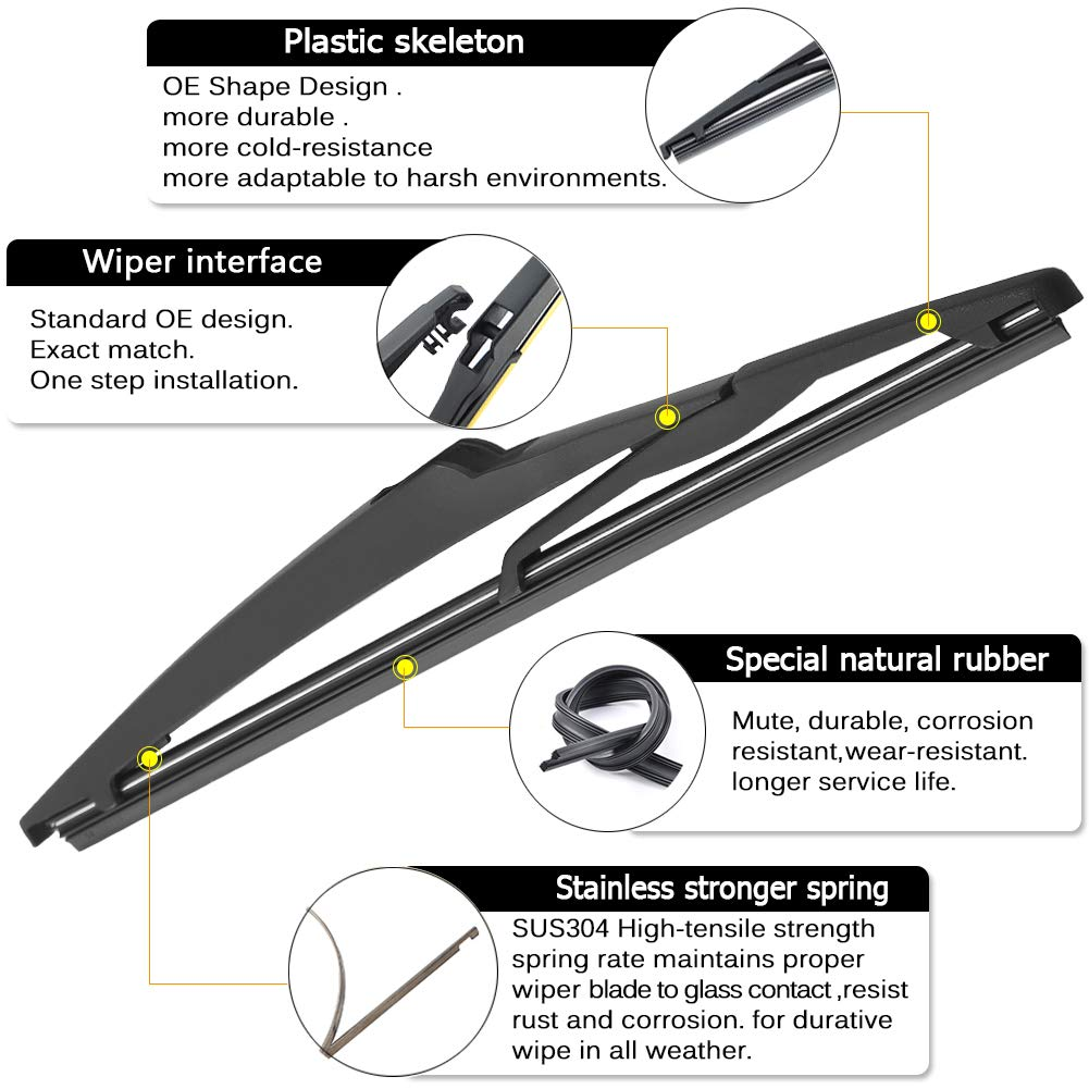 AUTOBOO For Toyota Rav4 2013-2017 Rear Wiper Blade Arm Set,Blade:10250mm