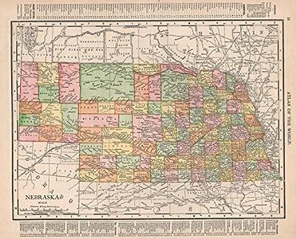 Amazon Com Nebraska State Map Showing Counties Rand Mcnally 1912