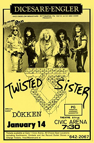 Innerwallz Twisted Sister with Special Guest Dokken Retro Art Print - Poster Size - Print of Retro Concert Poster - Features Jay Jay French, Eddie Ojeda, Dee Snider, Mark Mendoza and Mike Portnoy.
