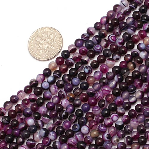 """GEM-inside Banded Purple Agate Gemstone Loose Beads Natural Genuine 4mm Round Energy Stone Power Beads For Jewelry Making 15"""""""