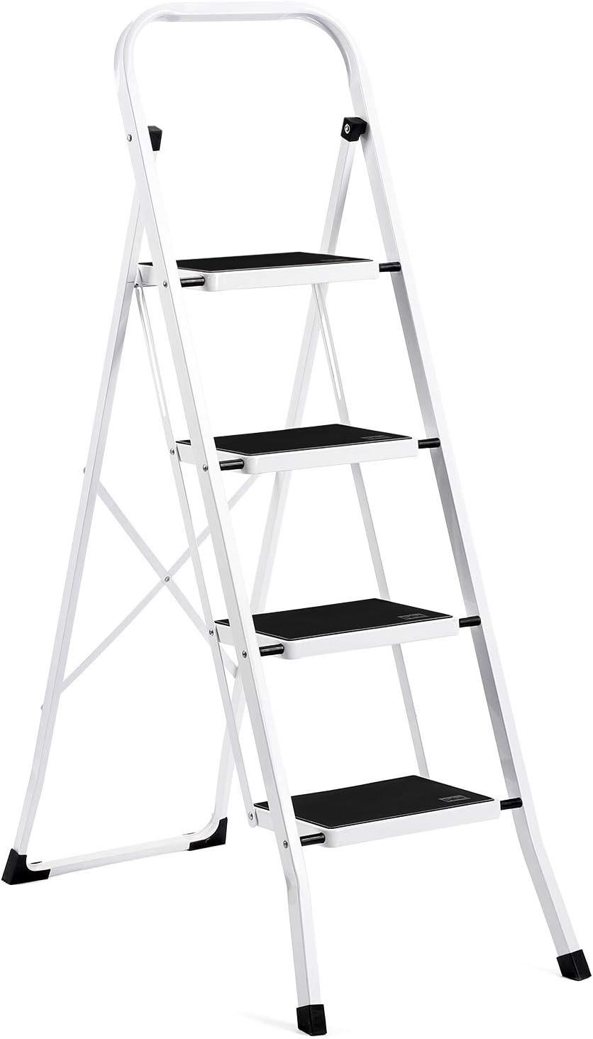 Acko Delxo Escalera Plegable de 4 peldaños con cómodo Agarre Antideslizante y Pedal Ancho 330 Libras portátil de Acero Taburete escalón Blanco y Negro 4 pies: Amazon.es: Juguetes y juegos